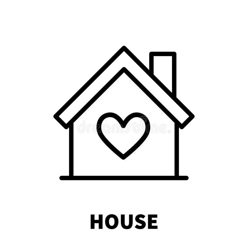 Domowa ikona lub logo w nowożytnym kreskowym stylu ilustracja wektor
