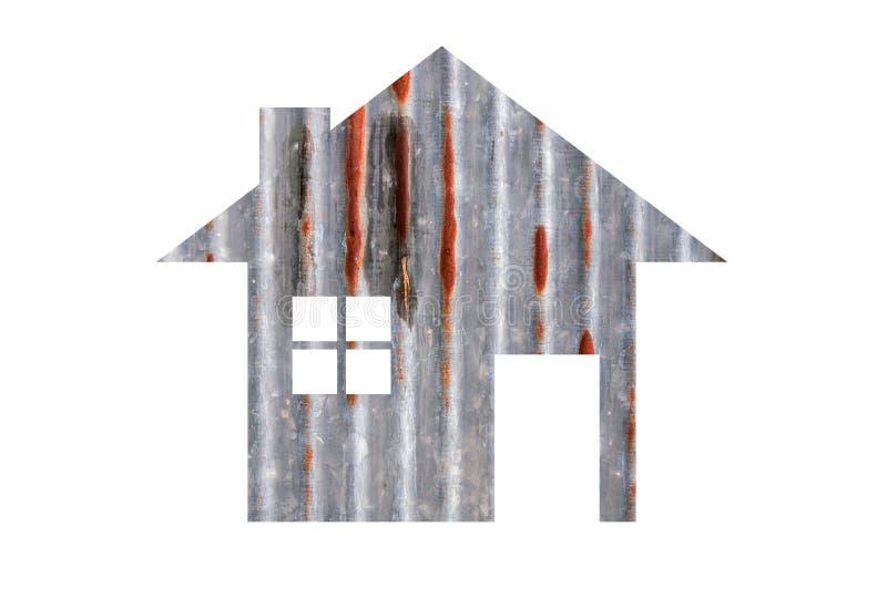 Domowa ikona od starej cynkowej tekstury odizolowywającej na bielu zdjęcie stock