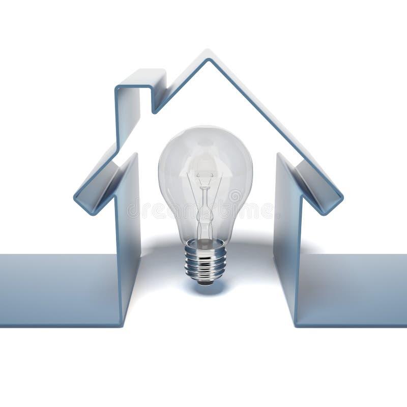 Domowa ikona z żarówką ilustracji