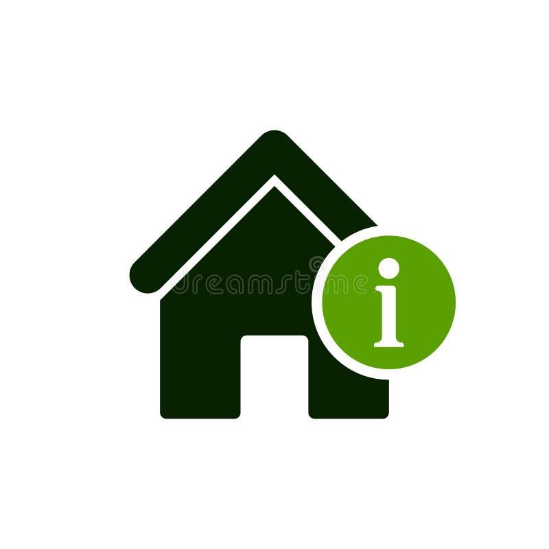 Domowa ikona z informacja znakiem Domowa ikona i wokoło, faq, pomoc, aluzja symbol royalty ilustracja
