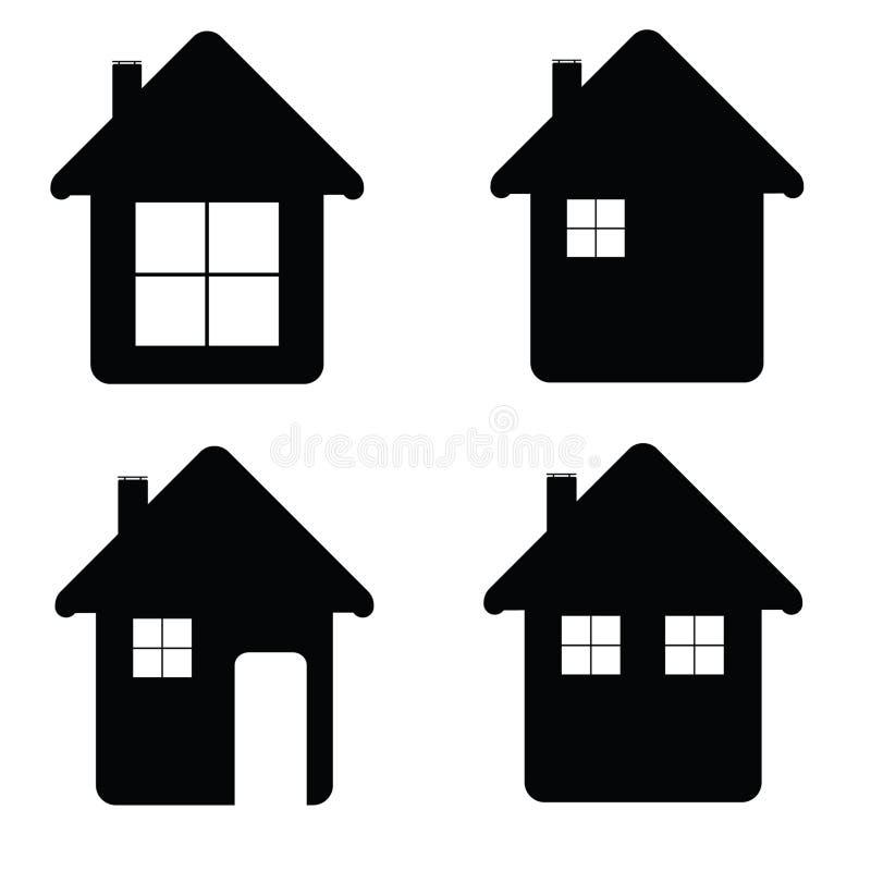 Domowa ikony ilustracja w czarnym kolorze royalty ilustracja