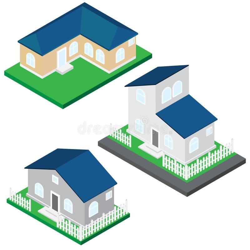 domowa ilustracja Szarość i brązu ściany i błękita dach zdjęcia stock