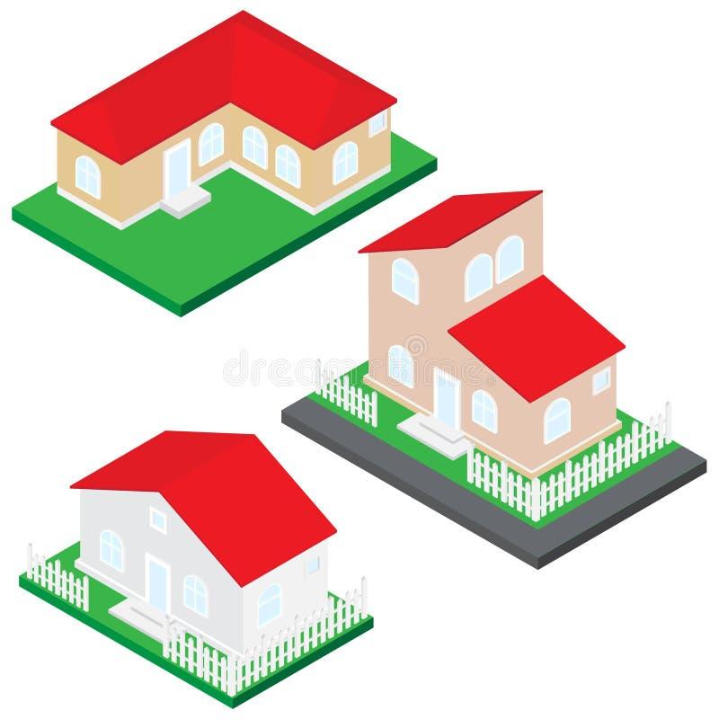 domowa ilustracja Szarość i brązu ściany i czerwień dach obraz stock