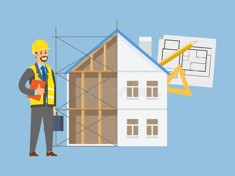 Domowa inżynieria, wektor, kontrahenta i budynku ilustracja wektor
