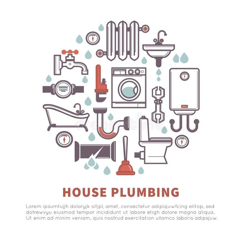 Domowa instalacja wodnokanalizacyjna łazienki i kuchni wektoru ikony royalty ilustracja