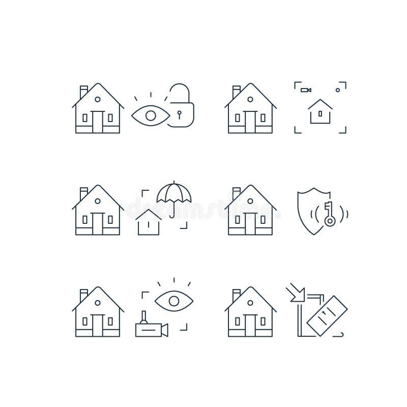 Domowa kamera wideo inwigilacja, alarma strażowy system, domowa ochrona, włamanie ochrona, majątkowa przerwa w ubezpieczeniu, ude royalty ilustracja