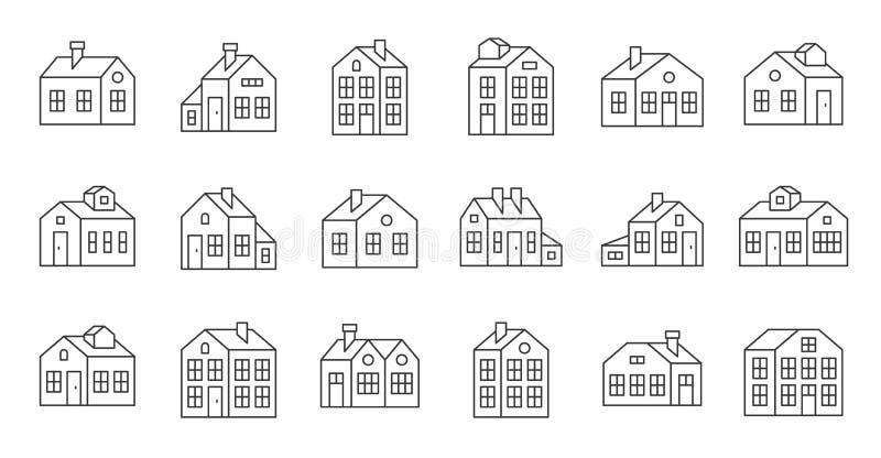 Domowa kontur ikona, piksel doskonalić wektorowa ilustracja ilustracji