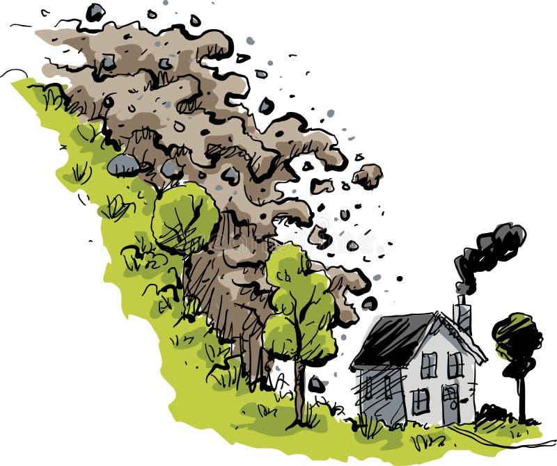 Domowa lawiny błotnej katastrofa ilustracja wektor