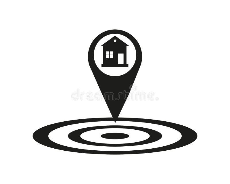 Domowa lokacji ikona Opadowy cień mapy pointeru sylwetki symbol Nieruchomość sprecyzowana Domowy niedaleki Wektor Odizolowywający royalty ilustracja