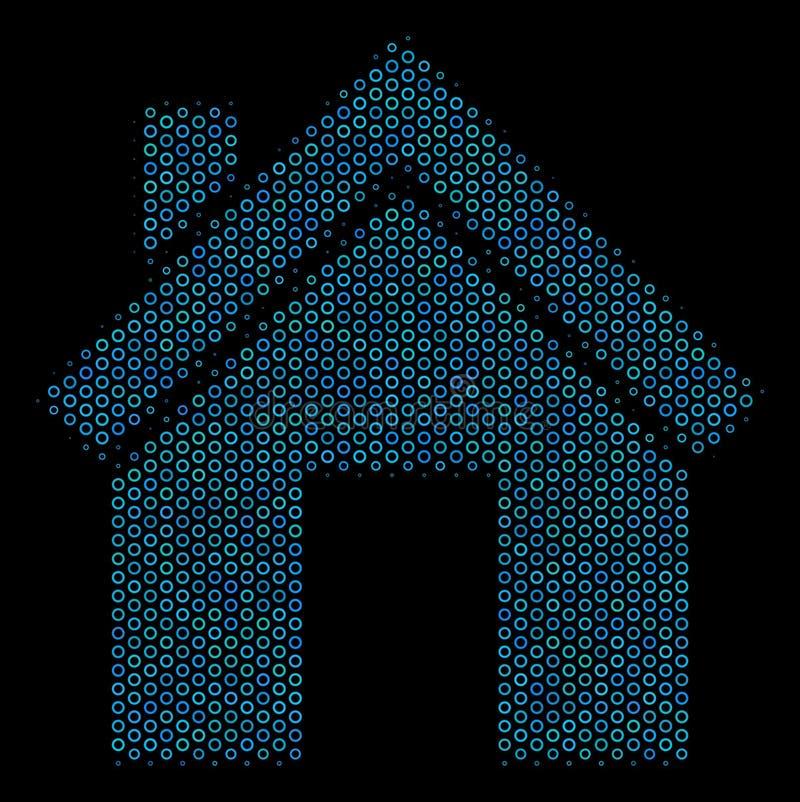 Domowa mozaiki ikona Halftone sfery ilustracji