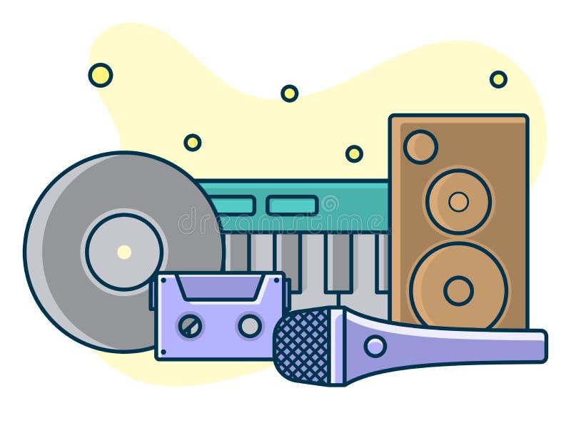 Domowa muzyka i dźwięka pracowniany pojęcie, proffessional pracy etykietka Kreskowa sztuka, mieszkanie stylowy wektor, ikona ilustracji