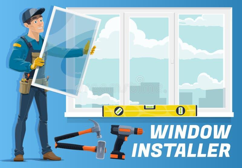 Domowa nadokienna instalacji usługa, installer pracownik royalty ilustracja