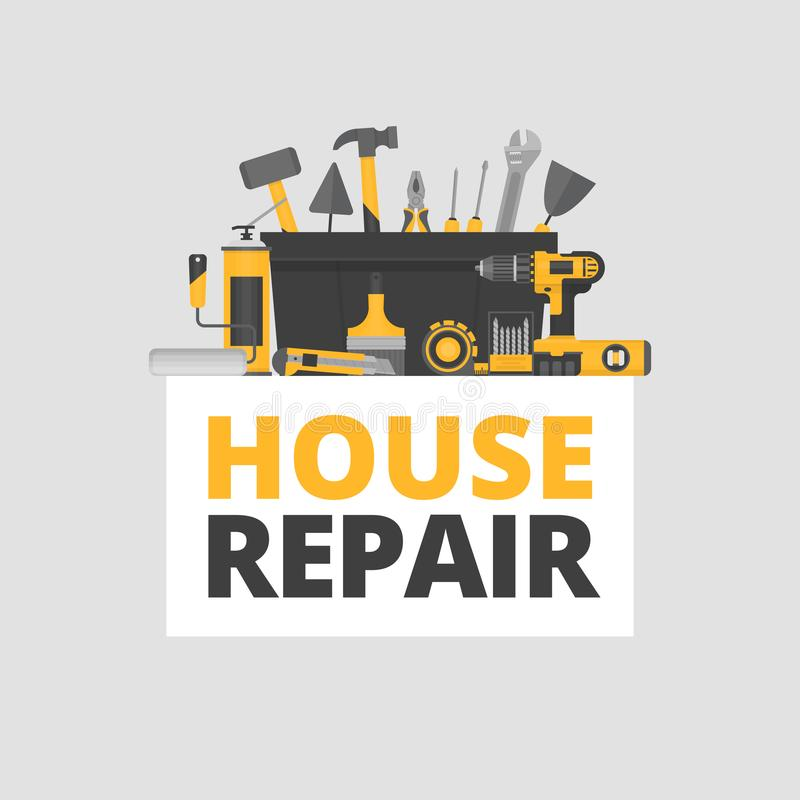 Domowa naprawa budowa młotek narzędzia okno Ręk narzędzia dla domowego odświeżania ilustracji