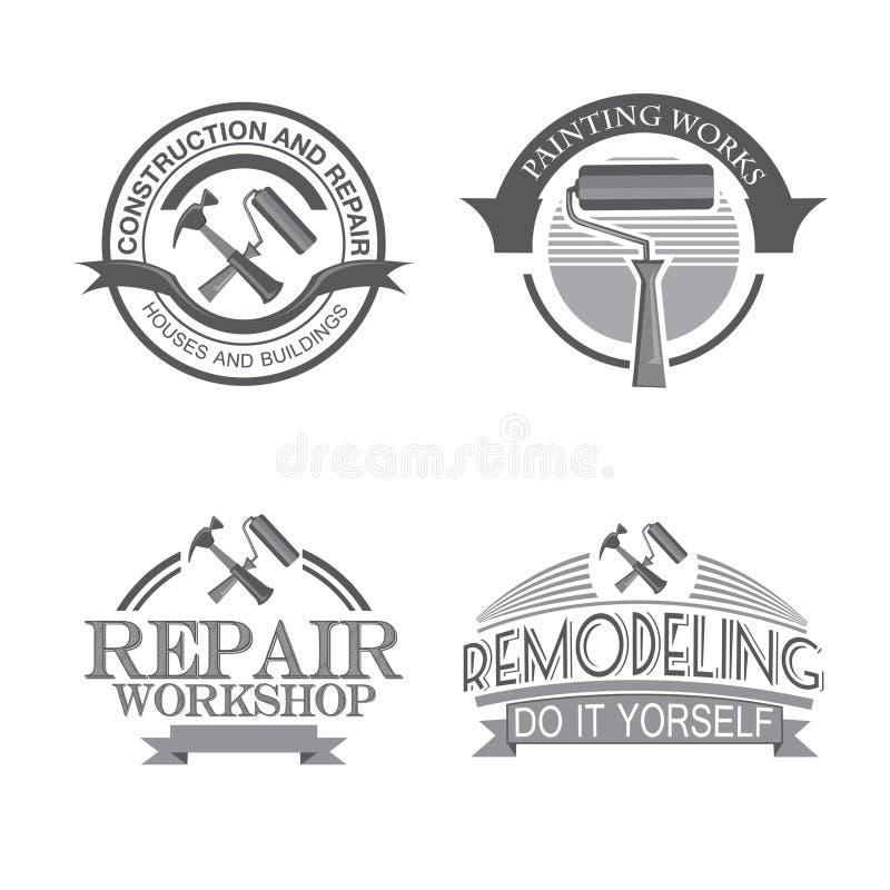 Domowa naprawa dyszy usługowe projekt etykietki ustawiać z czernią wytłacza wzory ikona odizolowywającą wektorową ilustrację ilustracji