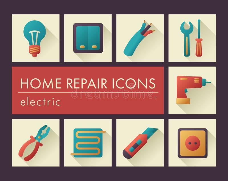 Domowa naprawa, elektryczne ikony ilustracji