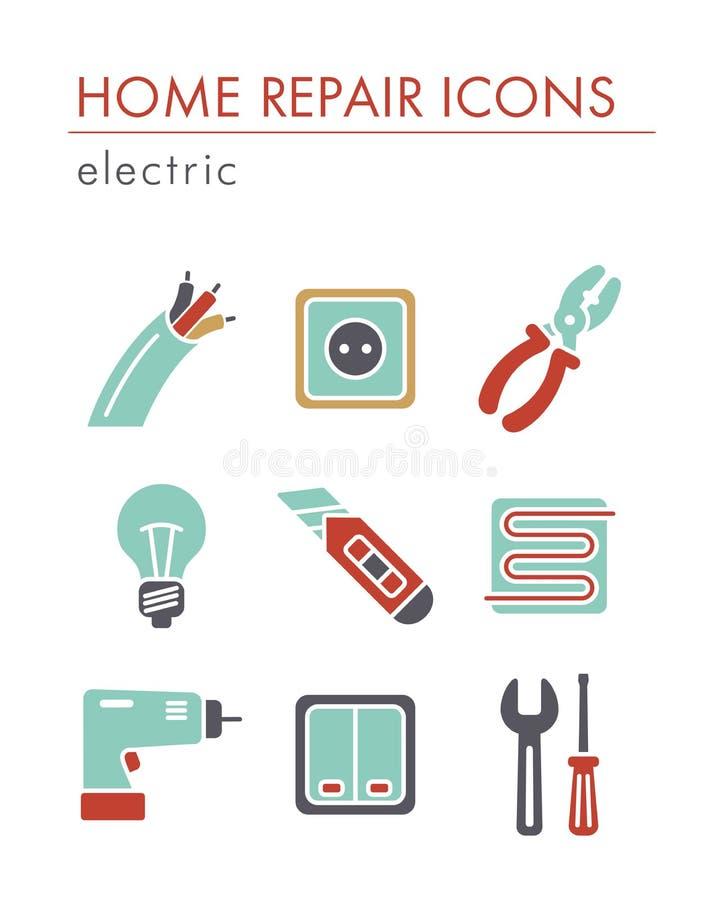 Domowa naprawa, elektryczne ikony royalty ilustracja