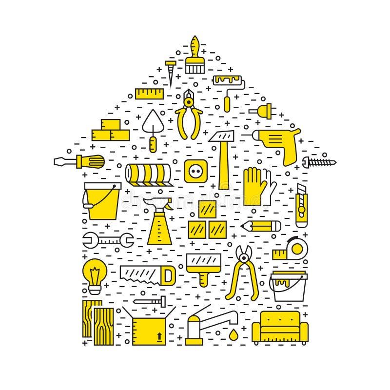 Domowa naprawa i budowa zarysowywamy czarnego i żółtego wektorowego tło Nowożytny minimalny projekt Domowy kształta plakat royalty ilustracja