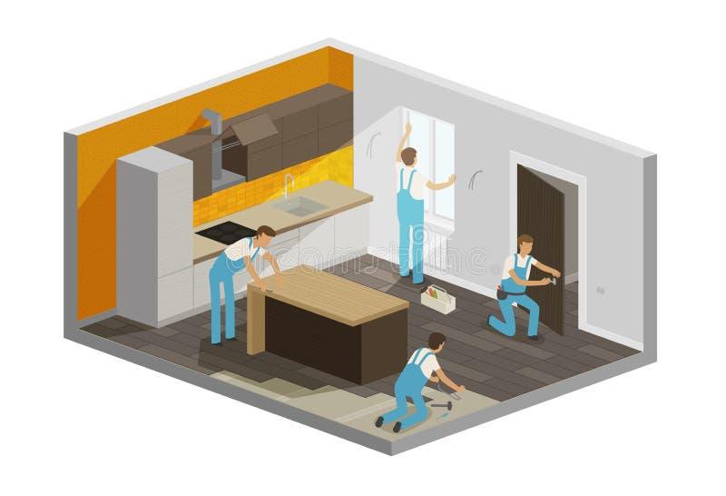 Domowa naprawa, odświeżania wnętrze Budowniczych ludzie pracują w drużynie, isometric wektorowa ilustracja ilustracja wektor