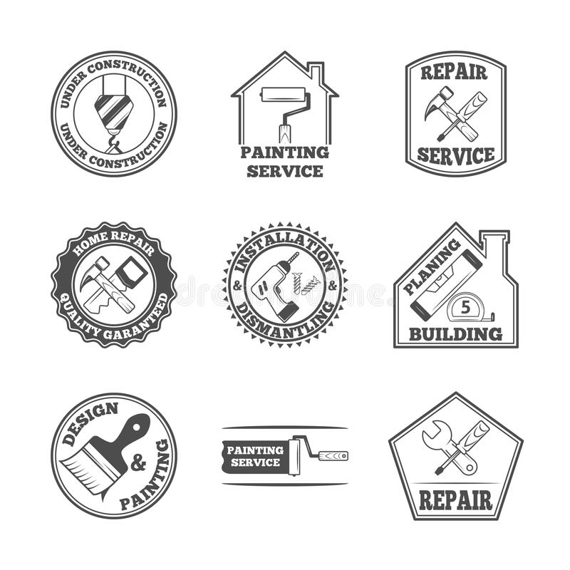 Domowa naprawa wytłacza wzory etykietek ikony ilustracji