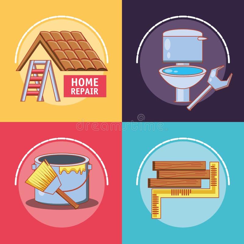 Domowa naprawa z narzędziami ustawia ikony royalty ilustracja