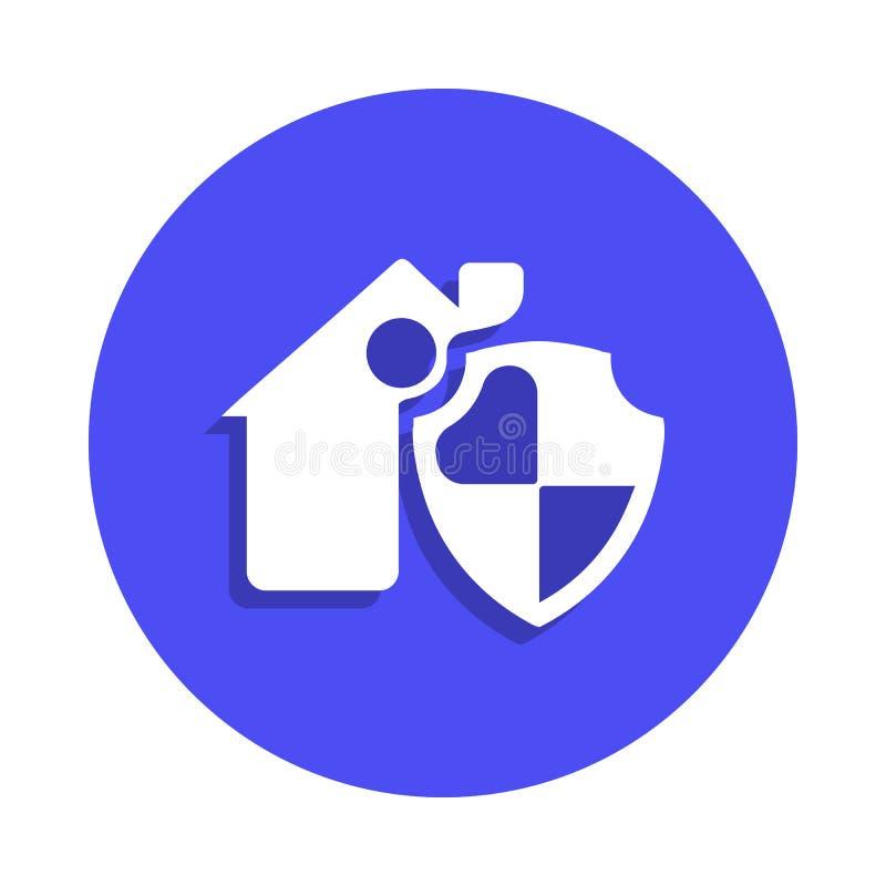 domowa ochrony ikona w odznaka stylu Jeden ogienia strażnika inkasowa ikona może używać dla UI, UX ilustracji
