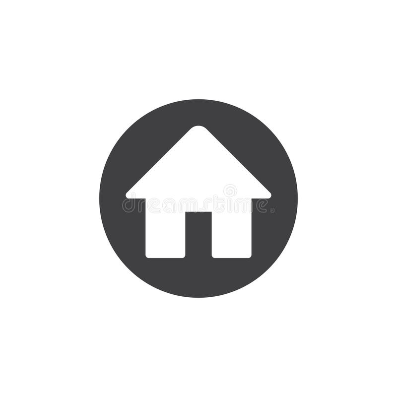 Domowa płaska ikona Round prosty guzik, kółkowy wektoru znak ilustracja wektor