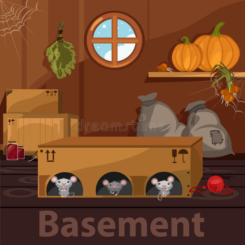Domowa piwnica z ślepuszonkami, pudełkami i jedzeniem, ilustracja wektor