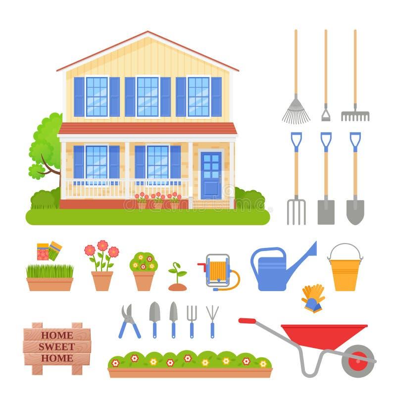 Domowa powierzchowność, ogrodowi narzędzia ustawiający również zwrócić corel ilustracji wektora ilustracja wektor
