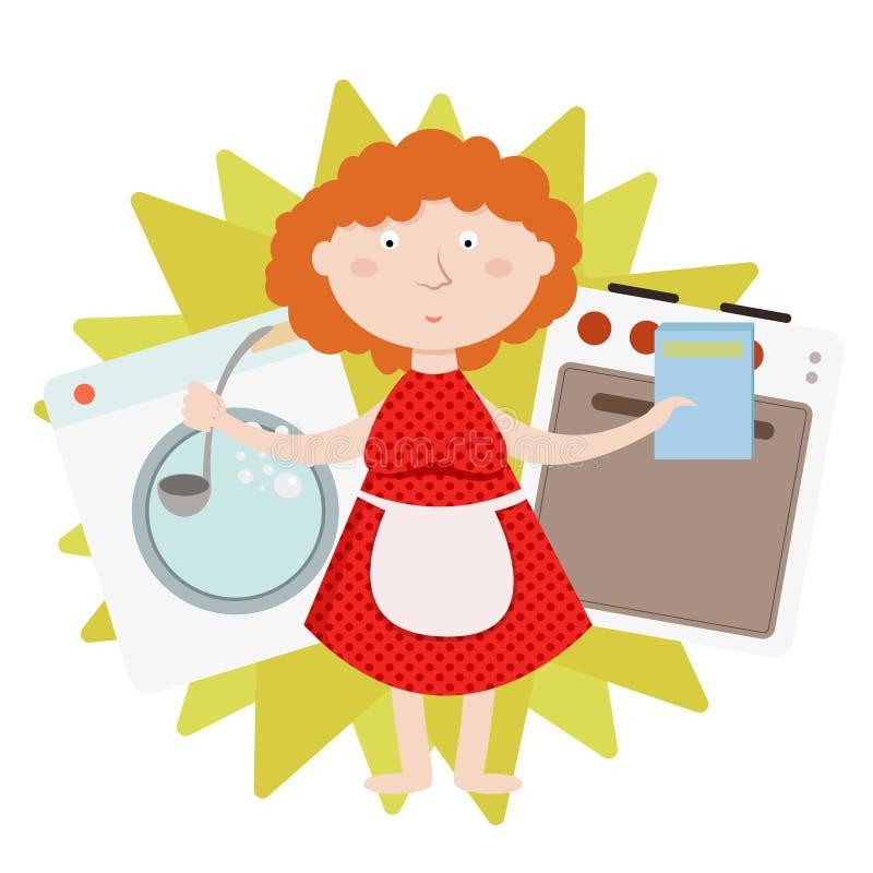 Domowa praca, gospodarstwo domowe, codzienny housekeeping, kobiety kucharstwo i pralnictwo odizolowywający, ilustracji