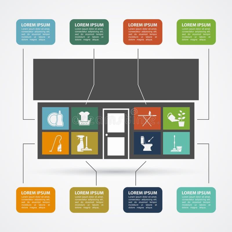 Domowa praca infographic royalty ilustracja