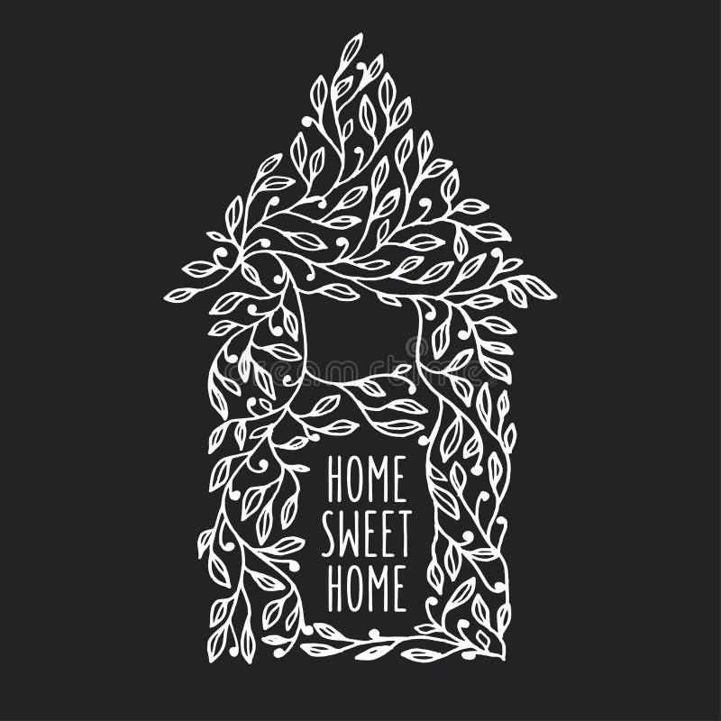 Domowa ręka rysujący cukierki domu plakat Wektorowa rocznik ilustracja ilustracja wektor