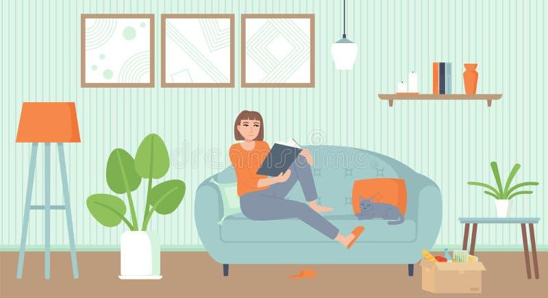 Domowa rozrywka, okres izolacji, koncepcja relaksu Przytulny pokój dzienny z kotem Dziewczyna na kanapie czytająca książkę ilustracji