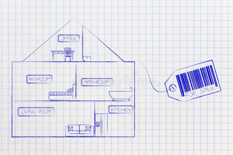 Domowa sekcja z widokiem w metkę i pokoje ilustracji