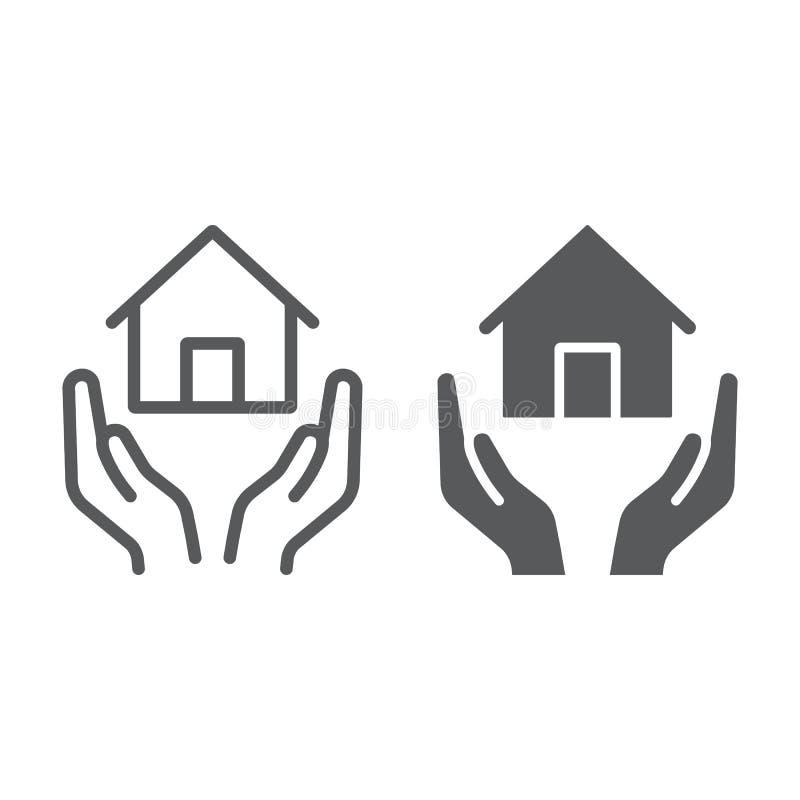 Domowa ubezpieczenie linia, glif ikona, nieruchomość i własność, domowy opieka znak, wektorowe grafika, liniowy wzór na bielu royalty ilustracja