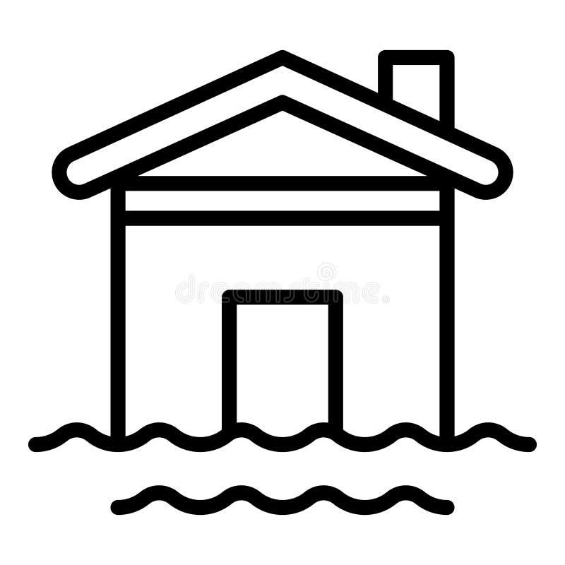 Domowa wodna powodzi ikona, konturu styl ilustracji