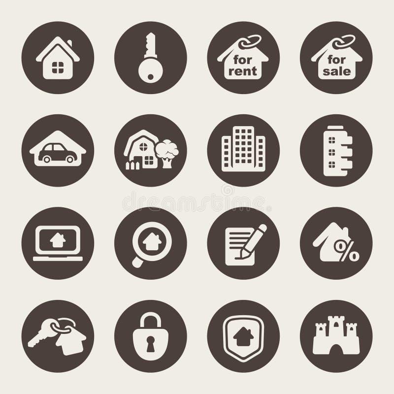 Domowe ikony. Nieruchomość royalty ilustracja