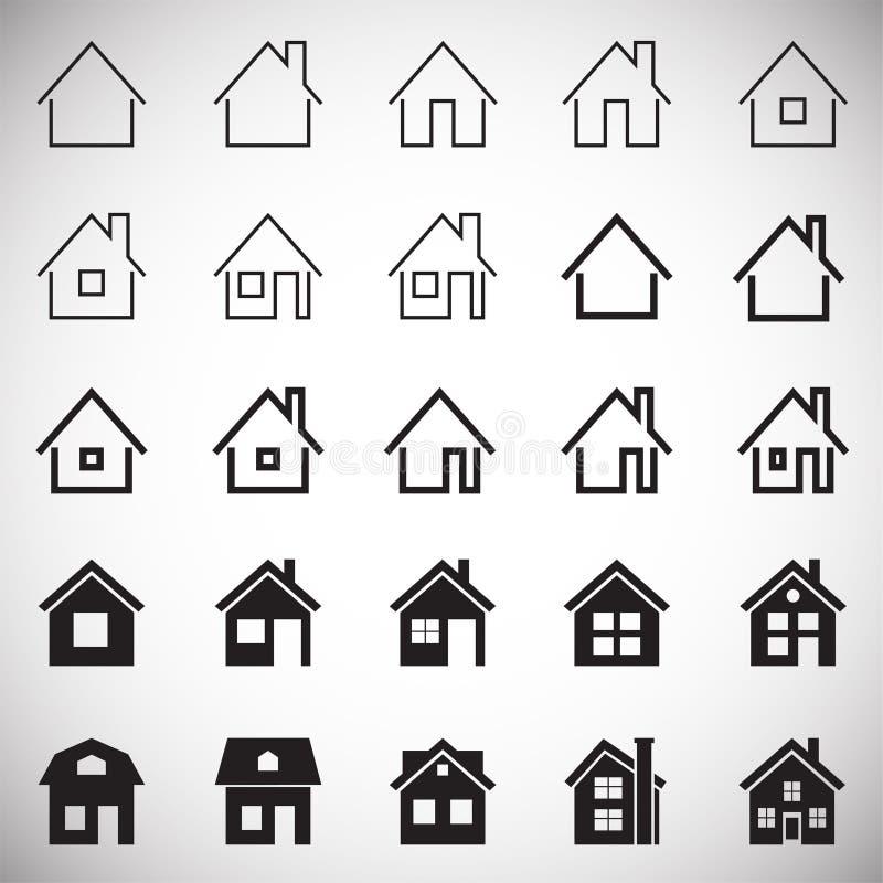 Domowe ikony ustawiać na białym tle dla grafiki i sieci projekta, Nowożytny prosty wektoru znak kolor tła pojęcia, niebieski inte royalty ilustracja