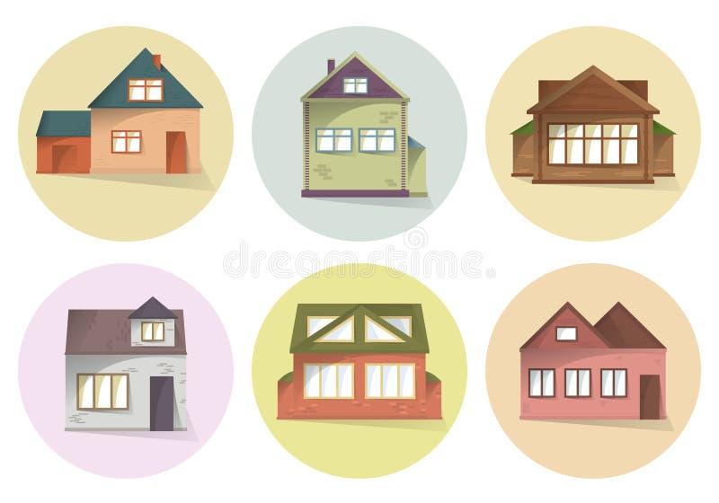 Domowe ikony ustawiać, różny typ domy, buduje fasady, semi mieszkanie styl z cieniami, wektor royalty ilustracja