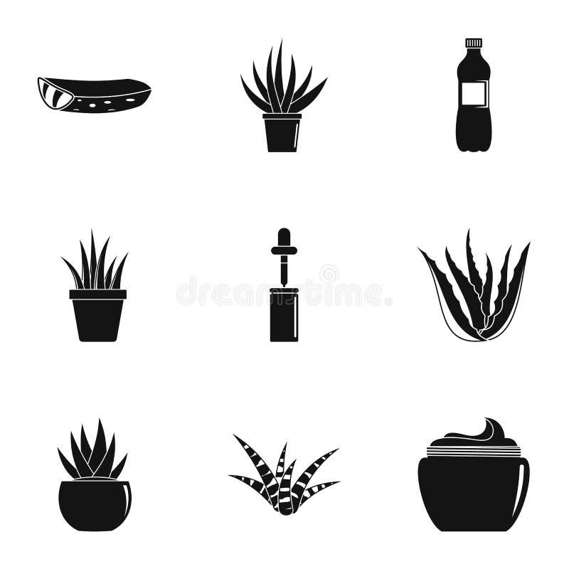 Domowe kaktusowe ikony ustawiać, prosty styl ilustracji
