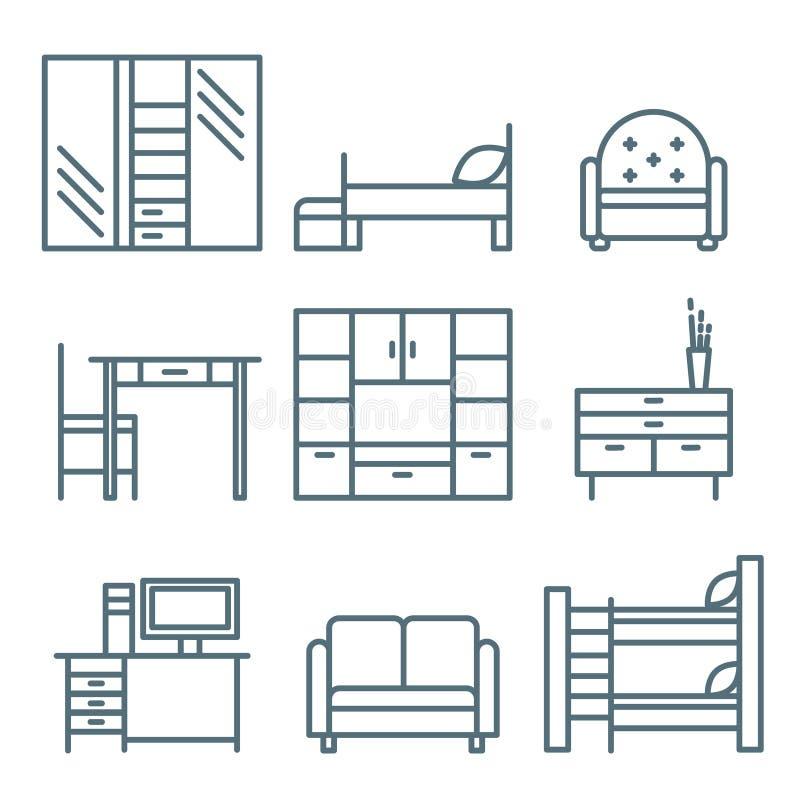 Download Domowe Meblarskie Ikony Ustawiać Ilustracja Wektor - Ilustracja złożonej z wnętrze, lampa: 53787174