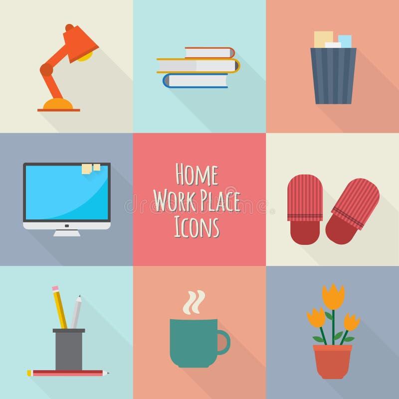 Domowe miejsce pracy ikony ustawiać royalty ilustracja