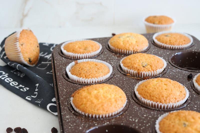 Domowe muffiny w wyrobach piekarniczych fotografia stock