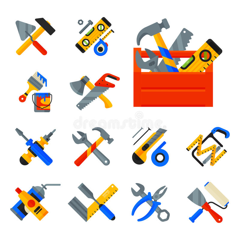 Domowe napraw narzędzi ikony pracuje budowy wyposażenie i usługa pracownika macter pudełka mieszkania styl odizolowywający na bie royalty ilustracja