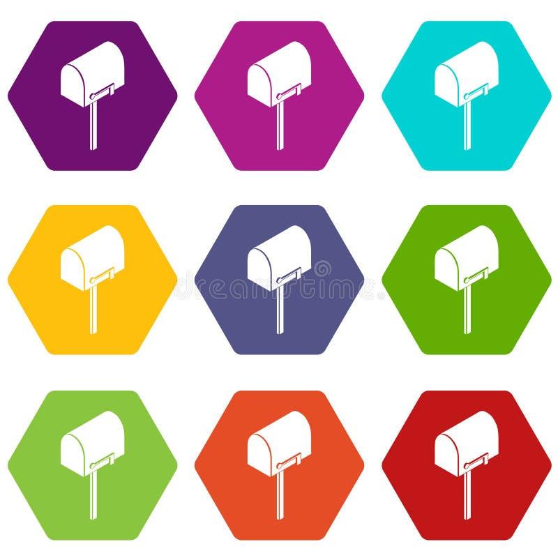 Domowe postbox ikony ustawiają 9 wektor royalty ilustracja