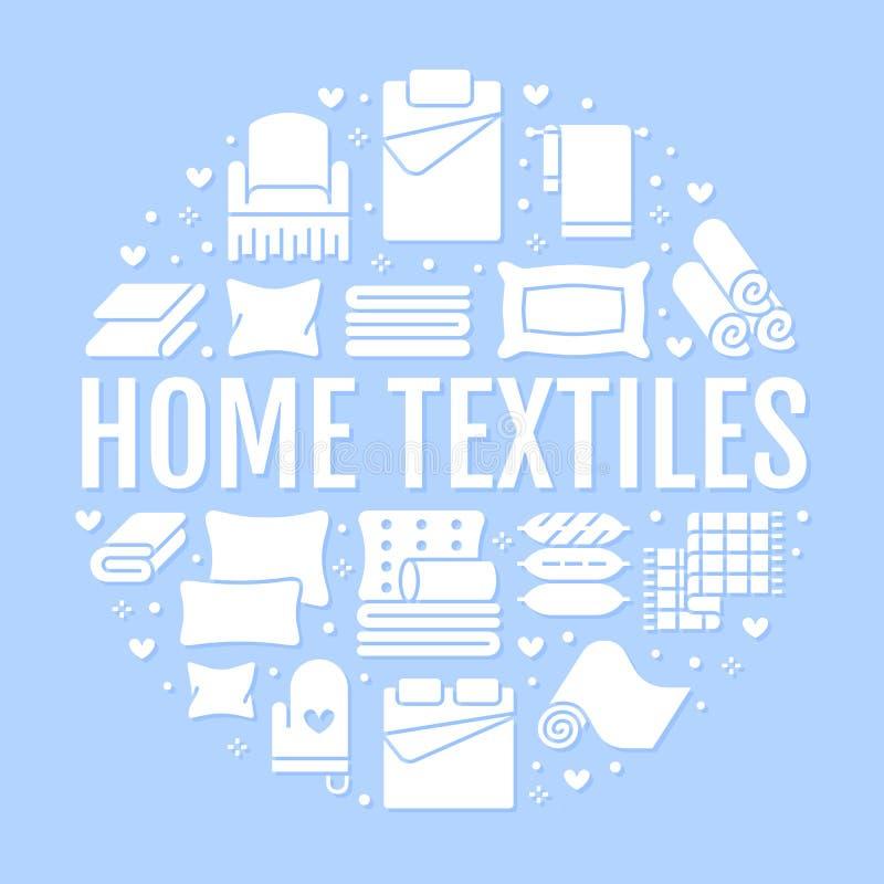 Domowe tkaniny okrążają szablon z płaskimi glif ikonami Pościel, sypialni pościel, poduszki, prześcieradła ustawia, koc i duvet ilustracja wektor