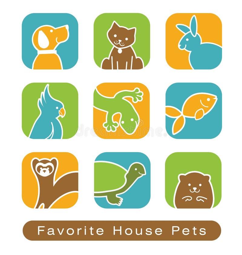 Domowe zwierzę domowe ikony royalty ilustracja