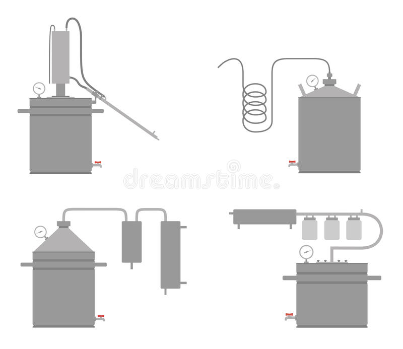 Domowego alkoholu wanny maszynowy dżin, śmierdziuchy apparatat ilustracji