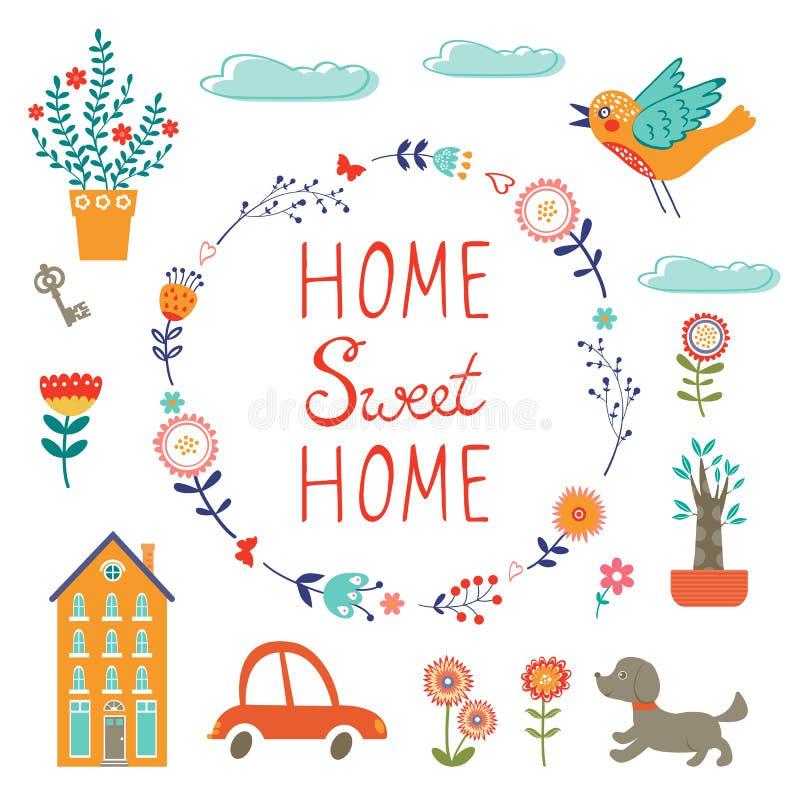 Domowego cukierki domu kolorowy set royalty ilustracja