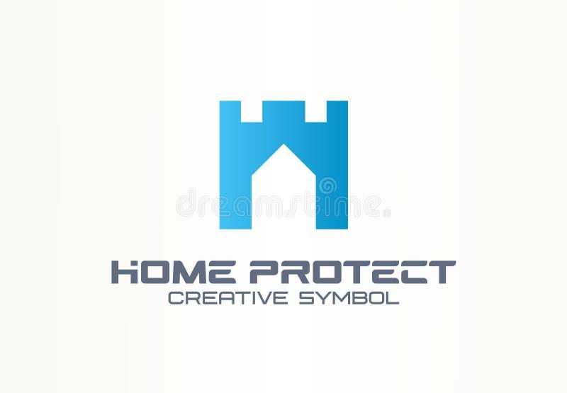 Domowego gacenia ochrony symbolu budynku kreatywnie pojęcie Bezpiecznego domu wierza ściany abstrakcjonistyczny biznesowy logo mi ilustracji