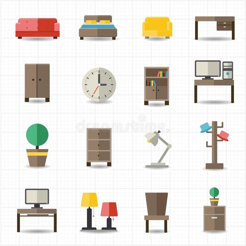 Domowego i biurowego meble wnętrza ilustracji